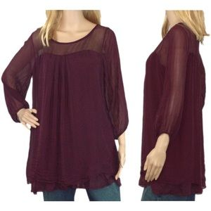 Sofia Italy Burgundy Wine Top Lined Washable Silk